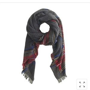 J Crew Gray wool plaid scarf